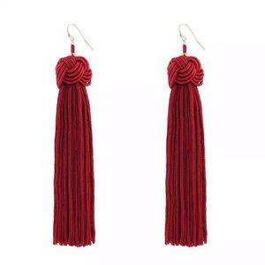 NWT Wine burgundy chandelier tassel earrings